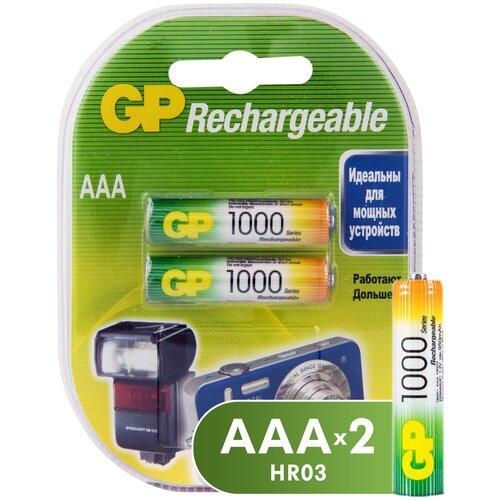 Фото - Аккумулятор Ni-Mh 950 мА·ч GP Rechargeable 1000 Series AAA, 2 шт. аккумулятор ni mh 1000 ма·ч camelion nh aaa1100 2 шт