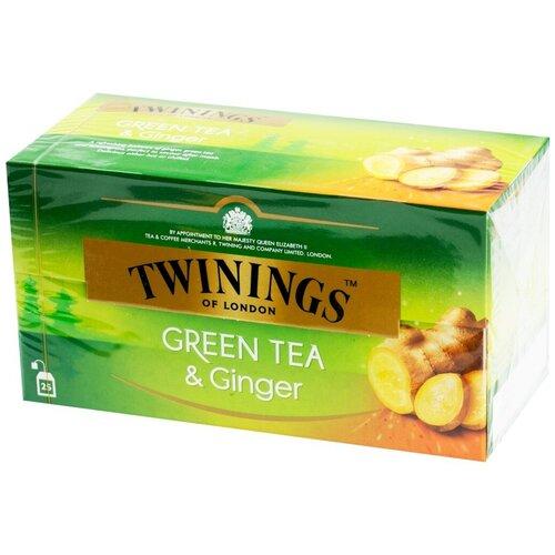 Чай зеленый Twinings Green Tea & Ginger в пакетиках, 25 шт.
