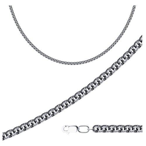 Фото - SOKOLOV Цепь из чернёного серебра с алмазной гранью 998140704, 50 см, 15.9 г sokolov шнур из чернёного серебра 95080008 50 см 1 76 г