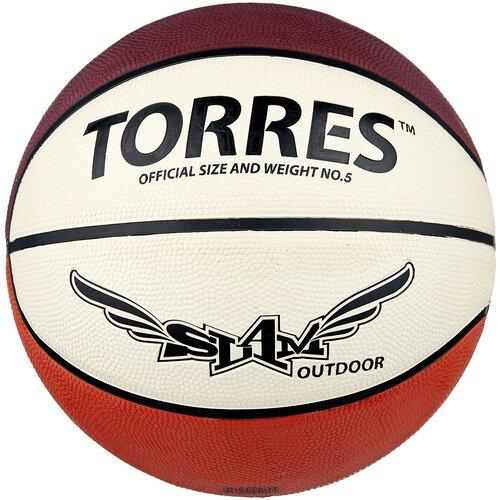 Баскетбольный мяч TORRES Slam B00065, р. 5 бежевый/бордовый/оранжевый мяч баскетбольный torres slam b02065 р 5