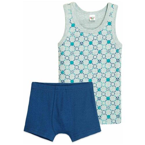 Комплект нижнего белья Let's Go размер 110-116, серый/синий комплект нижнего белья let s go размер 68 серый меланж темно серый