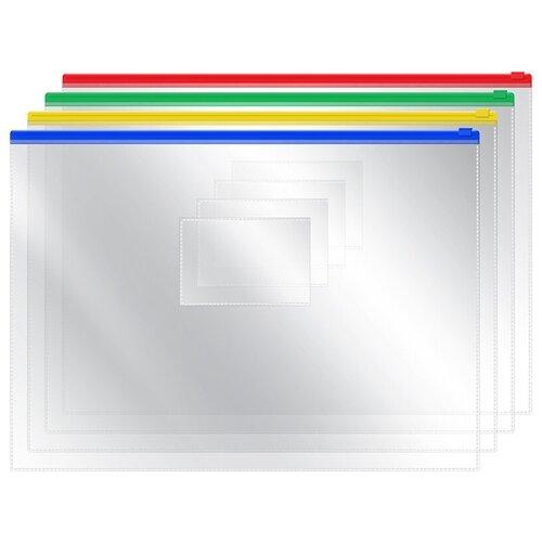 Купить Папка-конверт на молнии OfficeSpace, А4, 120мкм, прозрачная, упаковка 12 шт., Файлы и папки