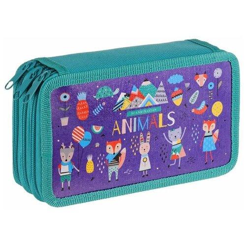 ArtSpace Пенал Animals (ПК3_29128), фиолетовый/зеленый недорого