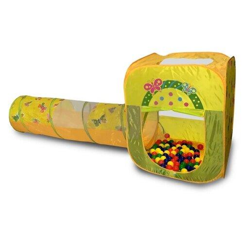 Фото - Палатка CHING-CHING Бабочки квадрат + туннель + 100 шаров СВН-23, желтый/зеленый палатки домики calida дом палатка 100 шаров конус квадрат туннель