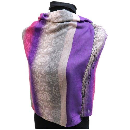 Палантин Crystel Eden 7688 шерсть бежевый/розовый/фиолетовый