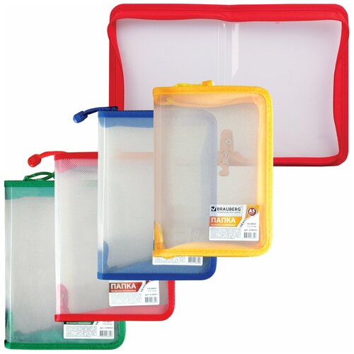 brauberg папка сумка на молнии а5 девочка футбол бабочка ассорти Папка на молнии пластиковая BRAUBERG, Диагональ, А5, 235х165 мм, прозрачная, молния ассорти, 224053
