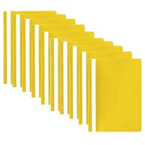 Купить STAFF Папка-скоросшиватель А4, полипропилен 100/120 мкм, 10 шт. желтый, Файлы и папки