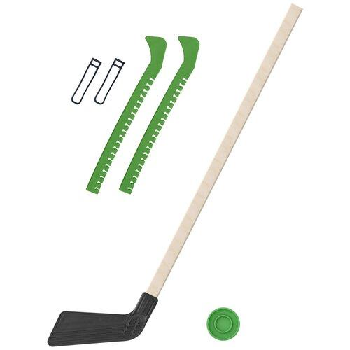 Набор зимний: Клюшка хоккейная чёрная 80 см.+шайба + Чехлы для коньков зеленые, Задира-плюс