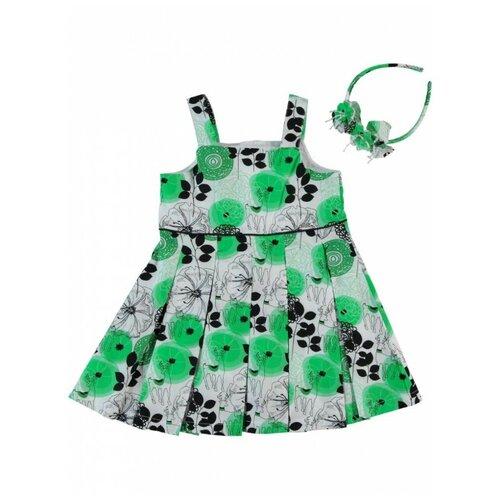 платье для девочки acoola pomelo цвет голубой 20220200368 400 размер 104 Платье для девочки с ободком Monna Rosa Цветы зеленое, размер 98-104