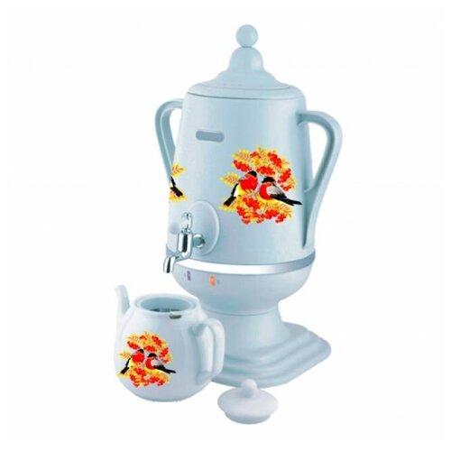 Добрыня DO-433 Снегирь на белом, Самовар электрический 4,0л + заварочный керамический чайник объём 1 л (цвет: белый)