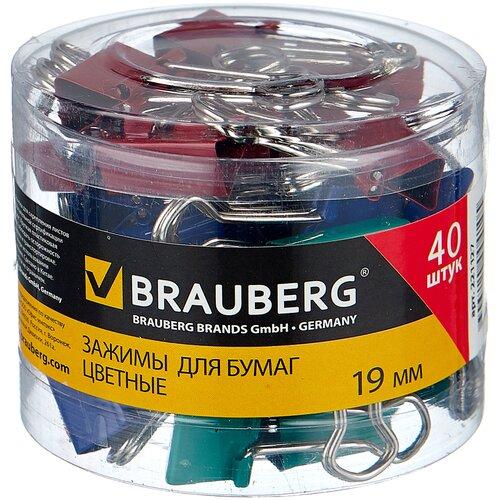BRAUBERG Зажимы для бумаг цветные 221127 19 мм (40 шт.) красный/синий/зеленый/желтый апплика зеркальца для декорирования цветные улитки c3750 01 8 шт желтый зеленый синий красный
