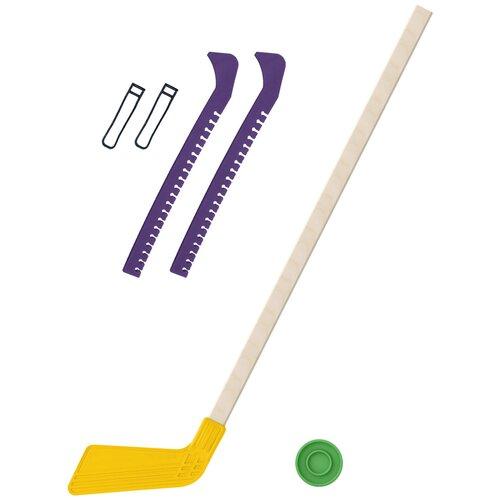 Набор зимний: Клюшка хоккейная жёлтая 80 см.+шайба + Чехлы для коньков фиолетовые, Задира-плюс