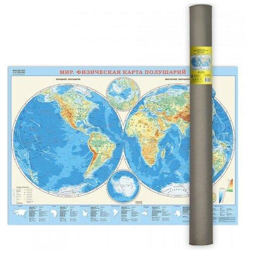 Фото - Карта настенная Физическая карта полушарий, 101х69 см (ламинированная в тубусе) карта настенная россия физическая 1 5 2млн 107 157см геодом