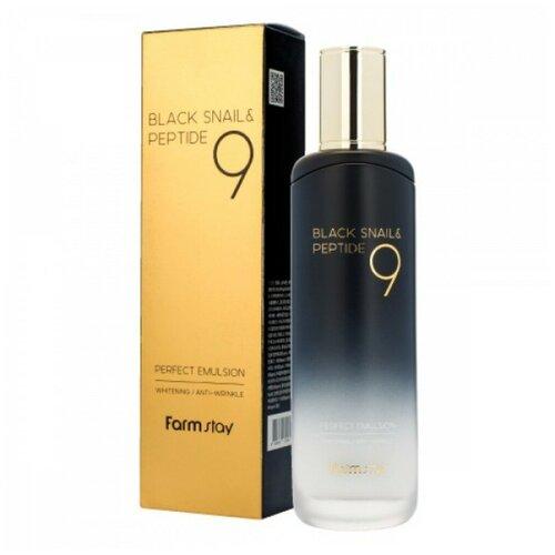 Farmstay Black Snail & Peptide 9 Perfect Emulsion Омолаживающая эмульсия для лица с муцином черной улитки и пептидами, 120 мл