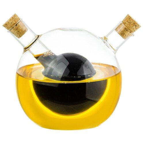 Фото - Бутылка для масла и уксуса 2в1 350+60 мл 13,6х10х10,5 см Elan Gallery Crystal glass с пробками, стекло бутылка д масла уксуса 2в1 350 60мл с 2 мя пробками стекло