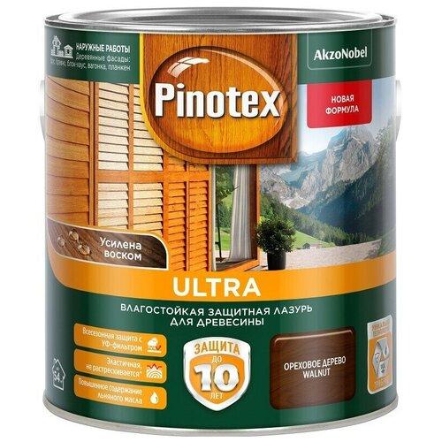 Пропитка влагостойкая лазурь Pinotex Ultra декоративно-защитная для древесины с добавлением воска Орех (1л)