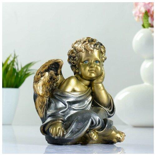 Фигура Ангел сидя бронза 18х14х12см фигура лев сидя с шаром бронза 29х18х45см