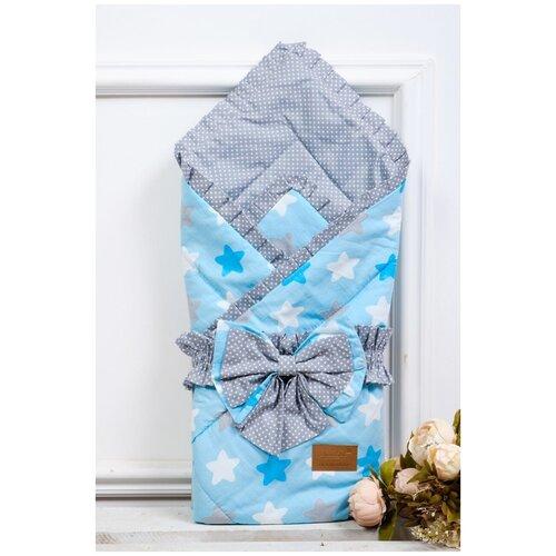 Купить Конверт-одеяло Amarobaby Happy Прянички 93 см серый/голубой, Конверты и спальные мешки