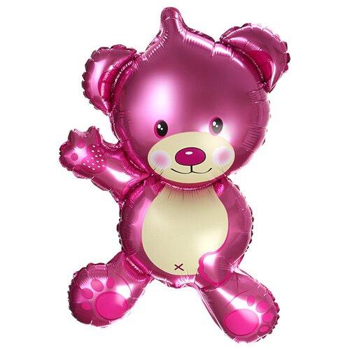Шар с клапаном (14''/36 см) Мини-фигура, Плюшевый мишка, Розовый, 1 шт.