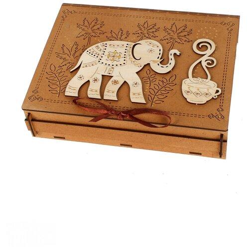 Подарочная коробка для чая со слоном КАНЫШЕВЫ коричневый ПУ526-00-3717