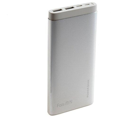 Аккумулятор внешний FaisON FS-PB-902 Classic 10000mAh металл 2 USB выхода индикатор 2.1A цвет: серебряный