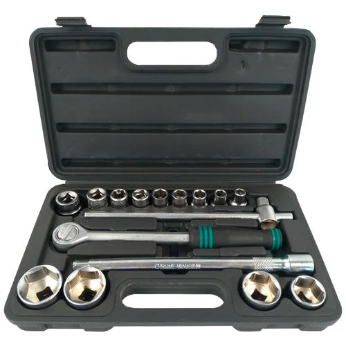 Набор автомобильных инструментов Сервис ключ 71552, 16 предм., черный/зеленый