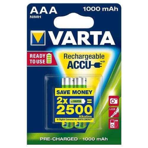 Фото - Аккумулятор Ni-Mh 1000 мА·ч VARTA Recharge Accu Power 1000 AAA, 2 шт. аккумулятор ni mh 1000 ма·ч camelion nh aaa1100 2 шт
