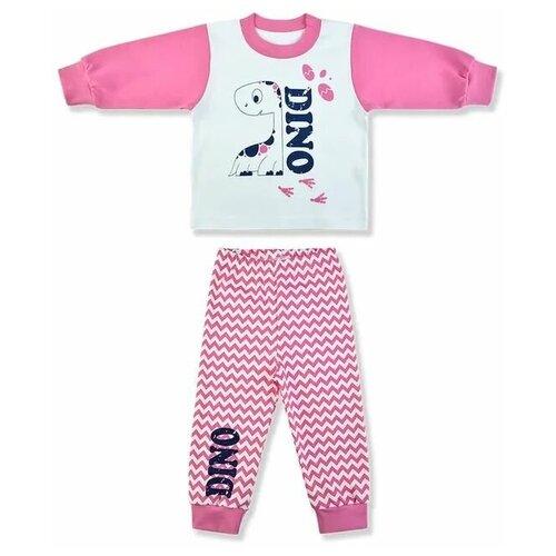 Пижама LEO размер 86, белый/розовый пижама double trouble белый оранжевый 86 размер