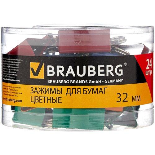 BRAUBERG Зажимы для бумаг цветные 221129 32 мм (24 шт.) красный / желтый / зеленый / синий апплика зеркальца для декорирования цветные улитки c3750 01 8 шт желтый зеленый синий красный