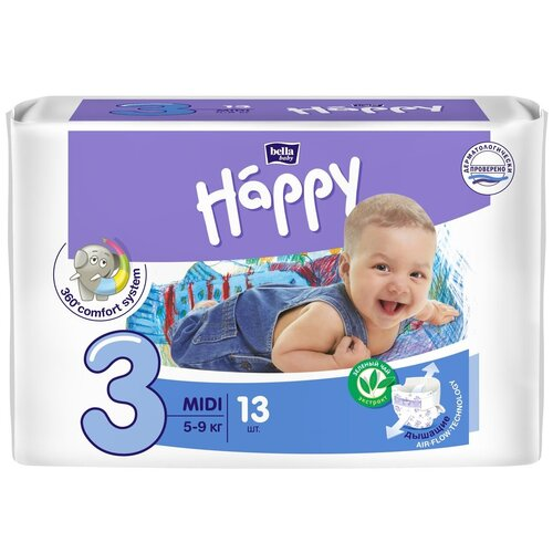 Bella Baby happy подгузники midi 3 (5-9 кг), 13 шт.