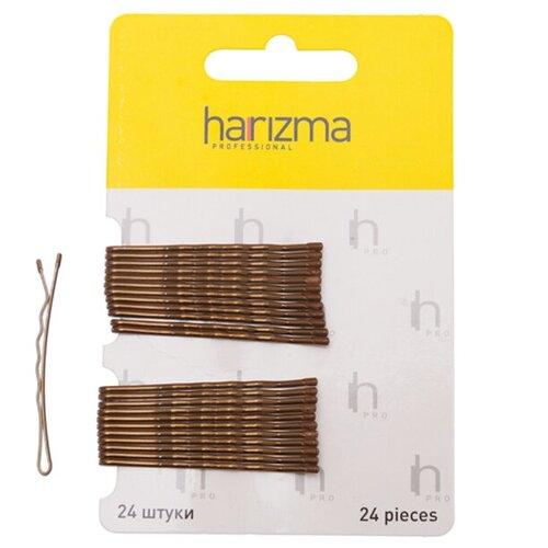 Купить Невидимки 50 мм волна 24 шт коричневые, harizma