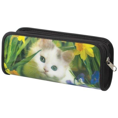 Фото - BRAUBERG Пенал-косметичка Белый котенок (227310) зеленый пенал косметичка brauberg тайм