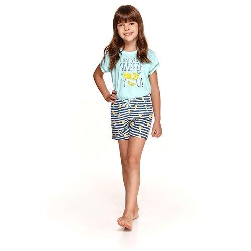 Купить Taro Хлопковая пижама для девочек Hania с лимончиками голубой с синим 92, Домашняя одежда