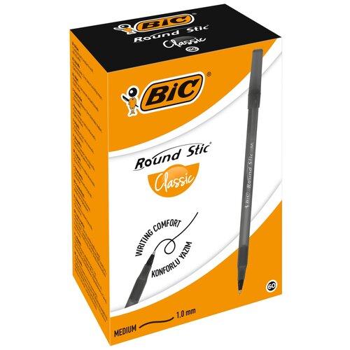 BIC Набор шариковых ручек Round Stic Classic, 0.32 мм, 60 шт. (921403/920568), 920568, черный цвет чернил