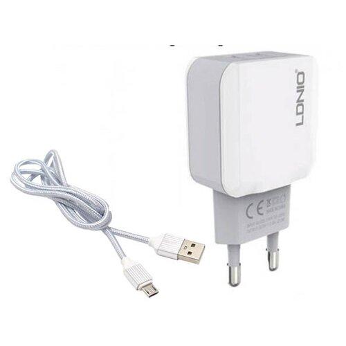 Фото - Зарядное устройство Ldnio A2202 2xUSB + Cable Micro USB White LD_B4392 зарядное устройство ldnio a2502c 2xusb microusb pd qc 3 0 36w black ld b4356
