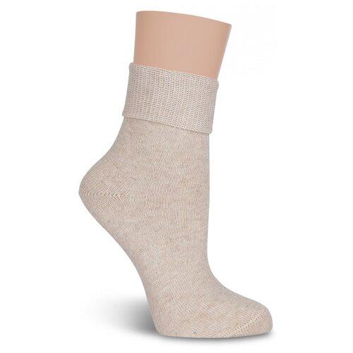 Тёплые женские носки LorenzLine В26 с крапивой, Бежевый, 23 (размер обуви 36-37)