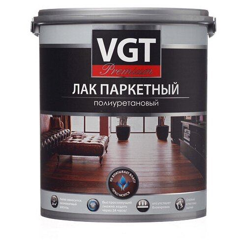 Лак VGT Premium Паркетный полиуретановый глянцевый полиуретановый бесцветный 2.2 кг лак паркетный акриловый vgt матовый 2 2 кг
