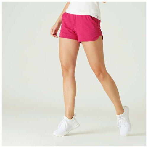 Шорты для фитнеса из биохлопка прямого покроя с карманами розовые NYAMBA Х Декатлон S RU44