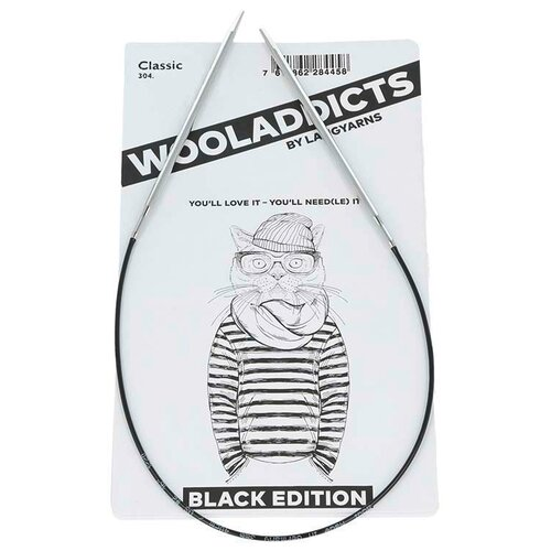 Купить Спицы круговые супергладкие WOOLADDICTS Classic №8, 60 см латунь, пластик серебристый*, Lang Yarns