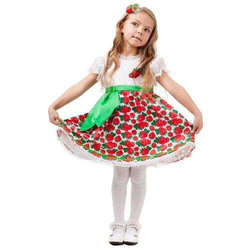 Купить Костюм пуговка Клубничка (2024 к-18), белый/красный, размер 128, Карнавальные костюмы