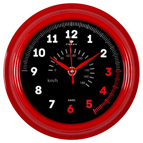 Часы настенные Спидометр, диаметр 21 см, красный корпус