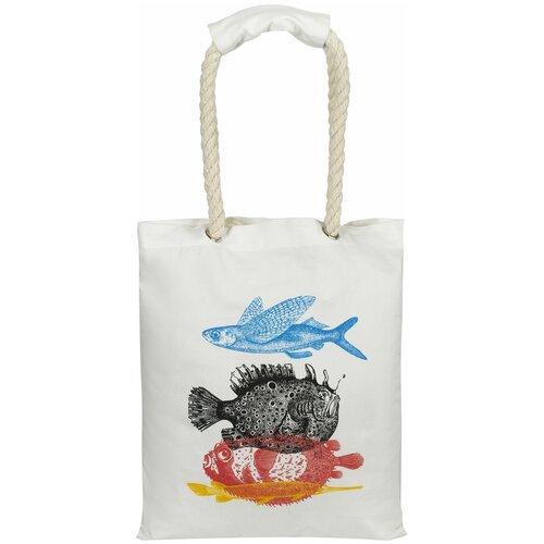 Сумка-шоппер с ручками-канатами «Морские обитатели», белая