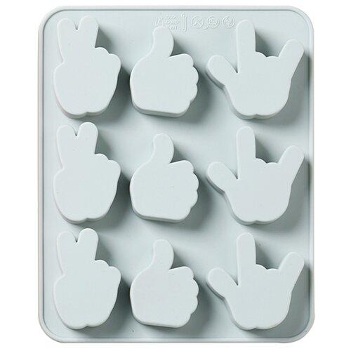 Силиконовая форма для конфет, льда, желе, шоколада Жесты, 9 ячеек, цвет серо-голубой, 17,4х14,2х1,6 см, Kitchen Angel KA-SFRM24-01