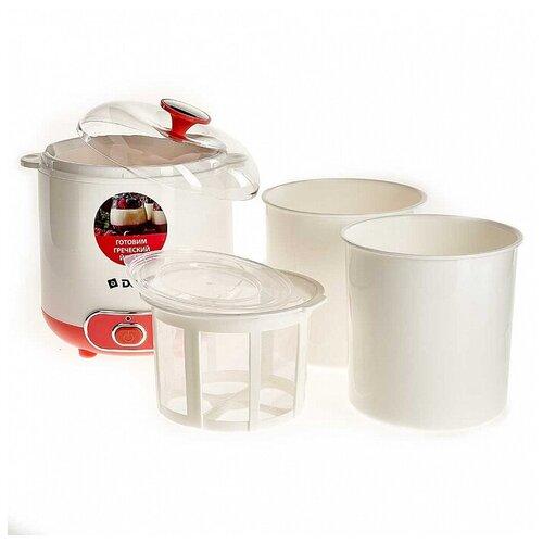 Йогуртница электрическая DELTA DL-8401 : 20 Вт, Объем контейнера 1,5 л., белый с розовым