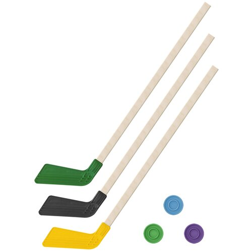 Детский хоккейный набор зима,лето 3 в 1/ Клюшки хоккейных 80 см зеленая, черная, желтая + 3 шайбы, Задира-плюс