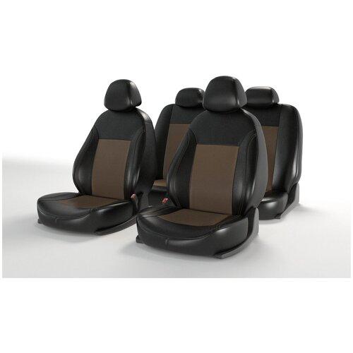 Универсальные чехлы на автомобильные сиденья CarFashion ATOM LEATHER черный/коричневый/коричневый
