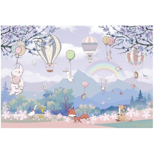 Фотообои флизелиновые Топ Фотообои Зверюшки и воздушные шары в нежных тонах 400х270 (ШхВ) сиреневый/светло-синий/серо-голубой/светло-розовый/белый