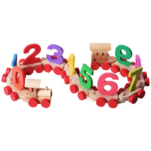 Развивающая игрушка PAREMO Деревянный паровозик с цифрами в деревянном ящике, бежевый