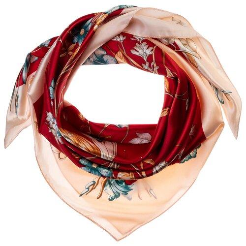 Шелковый платок на шею/Платок шелковый на голову/женский/Шейный шелковый платок/стильный/модный /21kdgPL903006-1vr красный,розовый/Vittorio Richi/80% шелк,20% полиэстер/90x90