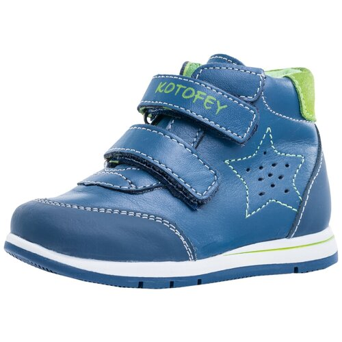 Фото - Ботинки КОТОФЕЙ размер 21, 23 синий/салатовый ботинки для мальчика котофей цвет синий салатовый 554047 41 размер 30
